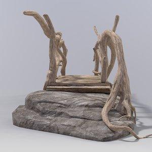 3d wooden bridge model