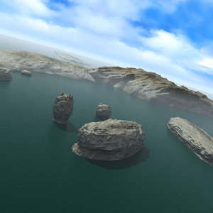 islands ocean rocks landscape 3d obj