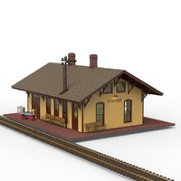 railroad station depot 3d model