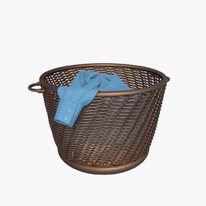 wicker basket linen 3d model