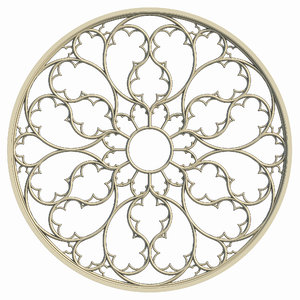 elegant gothic rose window 3d obj