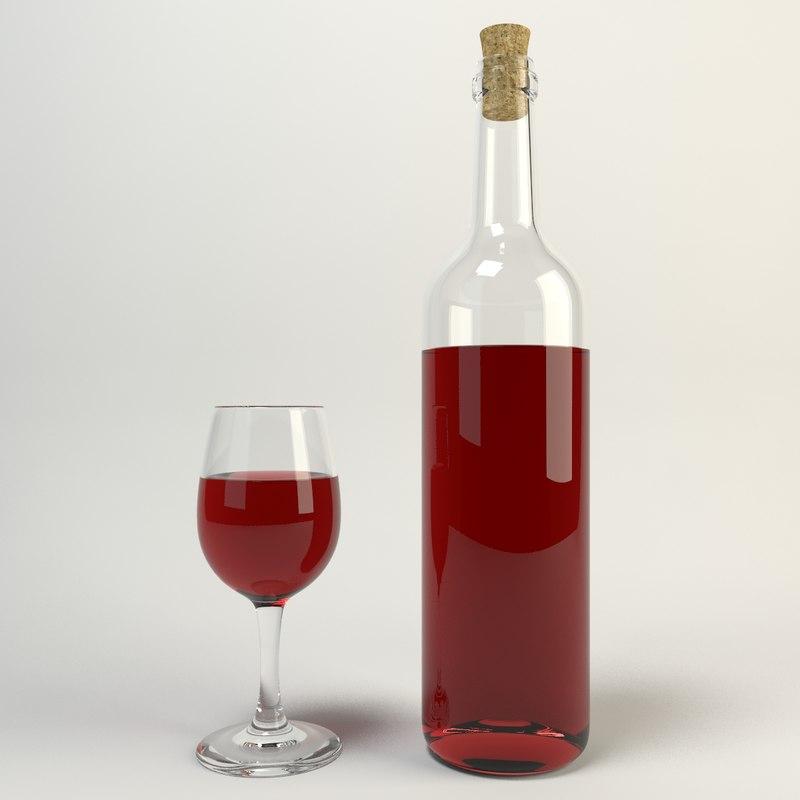 3d model of bottle glass wine
