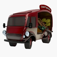 3d retro vegetable van