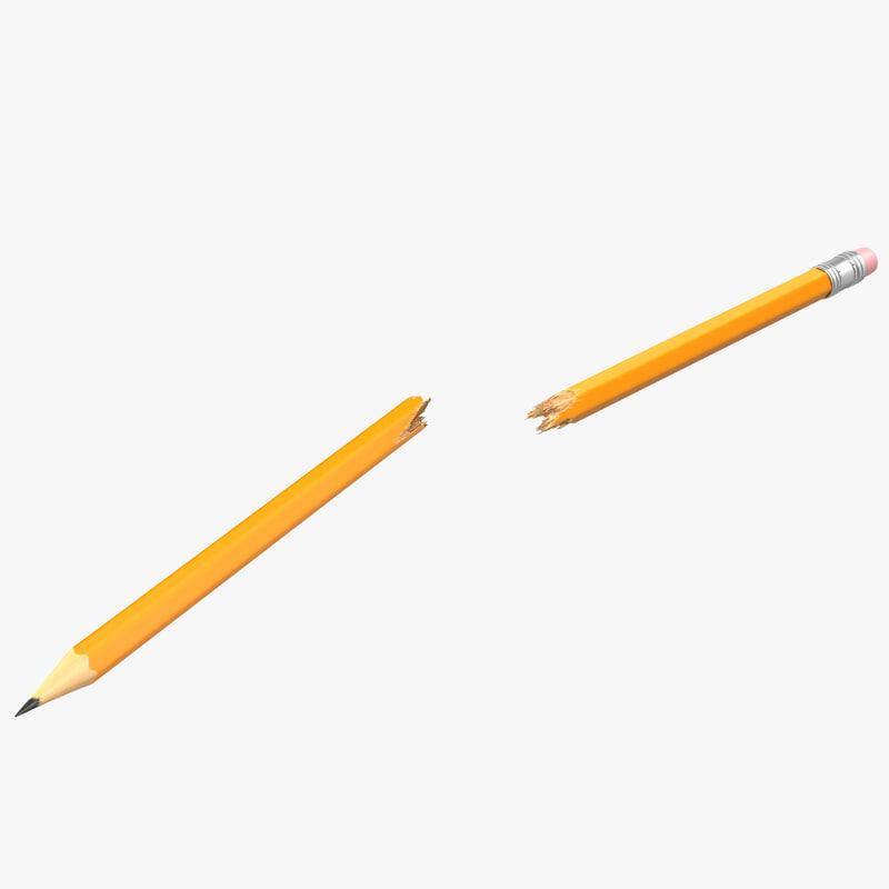 3d model broken pencil