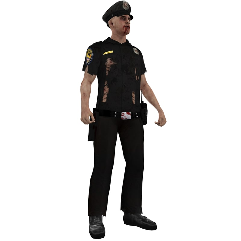 3d rigged zombie police