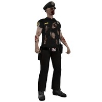 3dsmax rigged zombie police