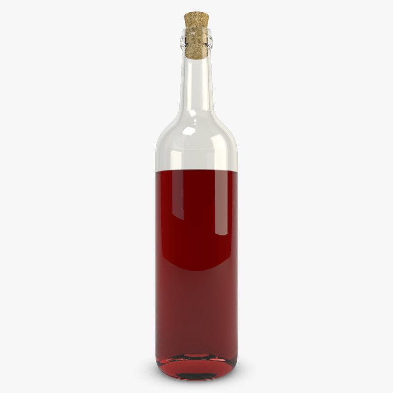 3d model realistic bottle wine