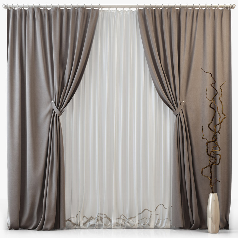 3d model of tull curtains m08