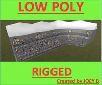 3d stadium crowd people rigged