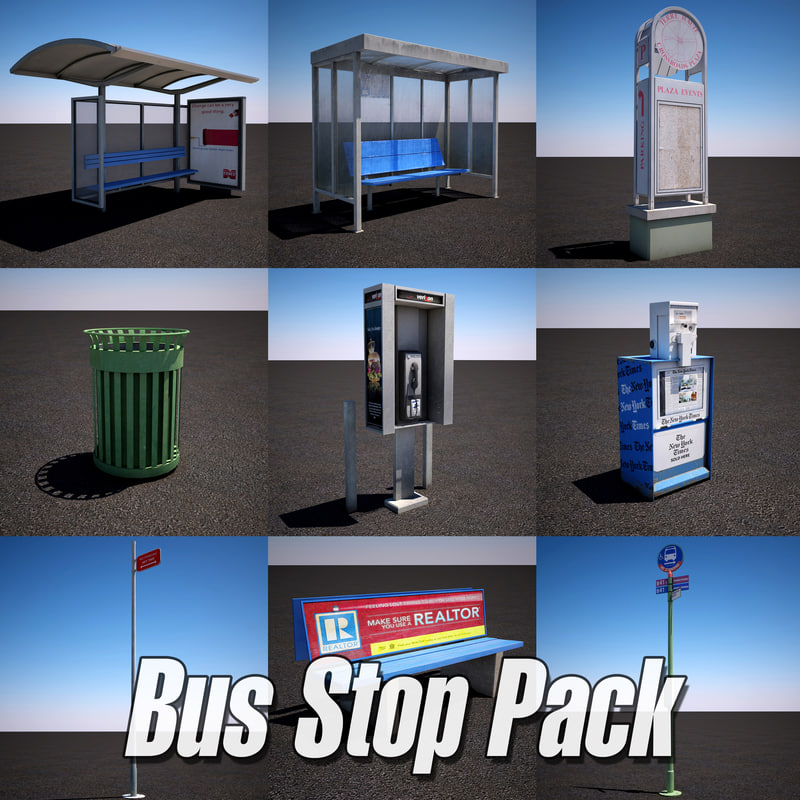 3d urban street bus stop