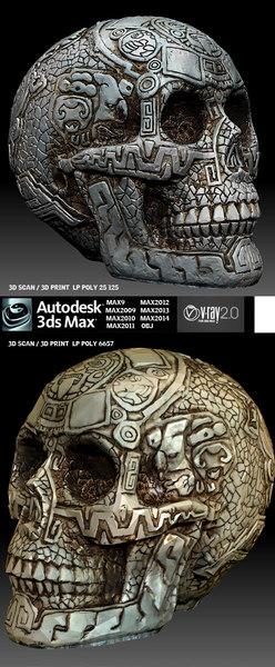 aztec skull 3d model