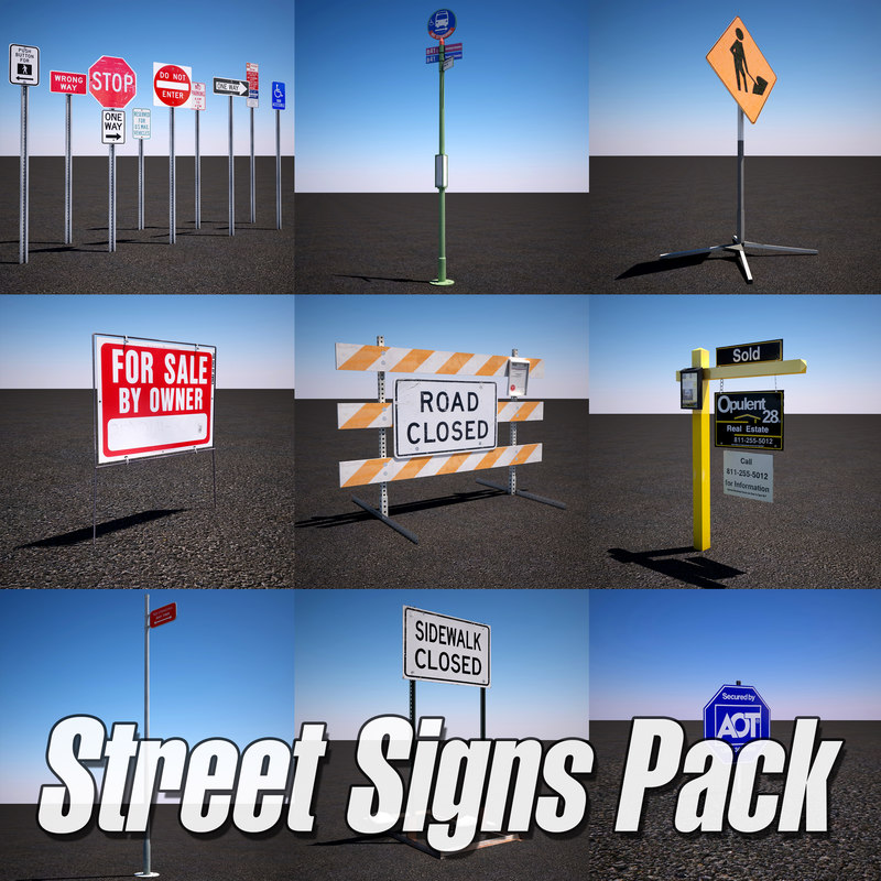 3d model urban street sign pack