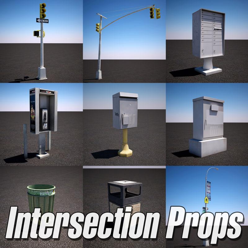 urban street intersection props 3d model