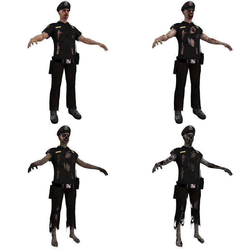 3d model pack zombie police