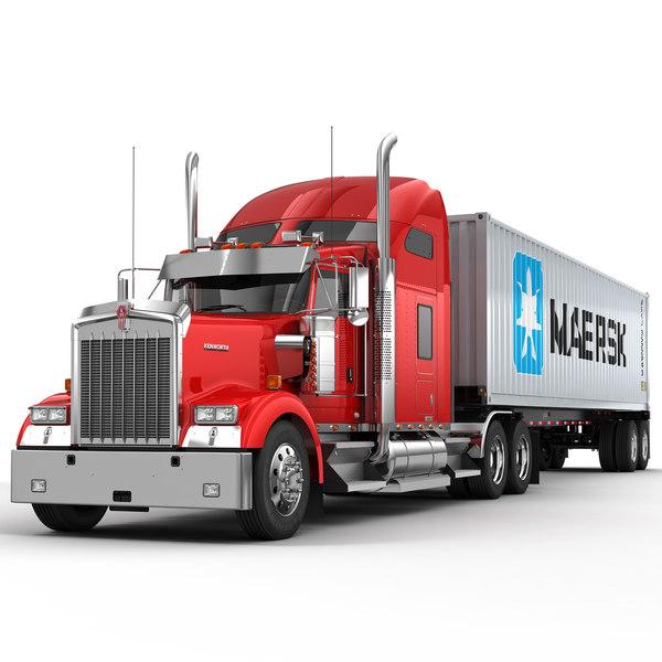 3d model w900 semi trailer container