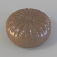 Patchwork Pouf Leather