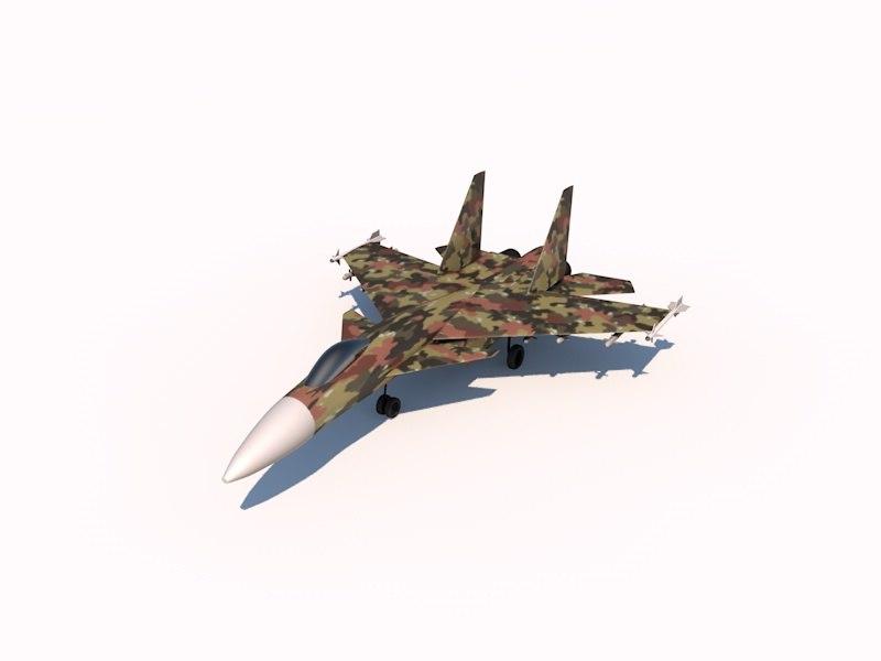 3dsmax sukhoi su-37 flanker