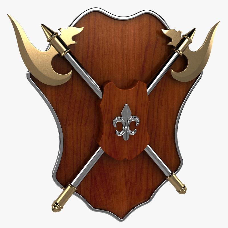 axe shield 3d model
