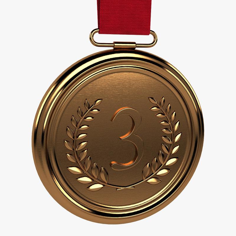 3d model bronze medal