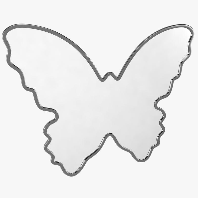 3d butterfly mirror