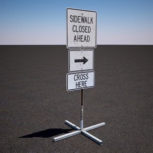 3d model of construction sign