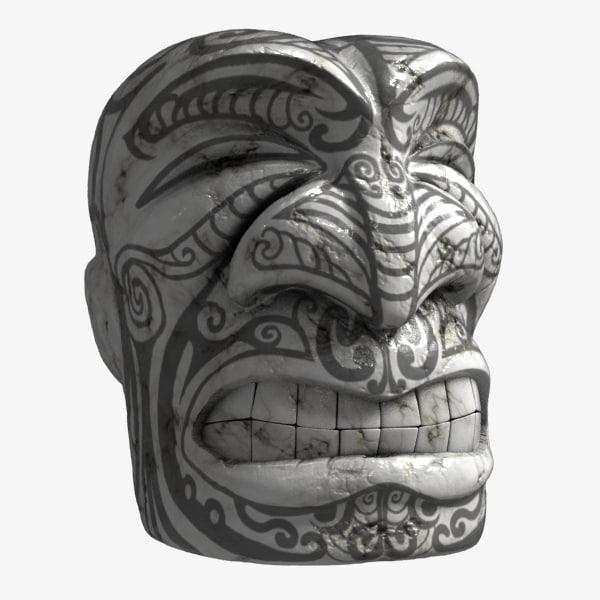 maori tiki face sculpture 3d model