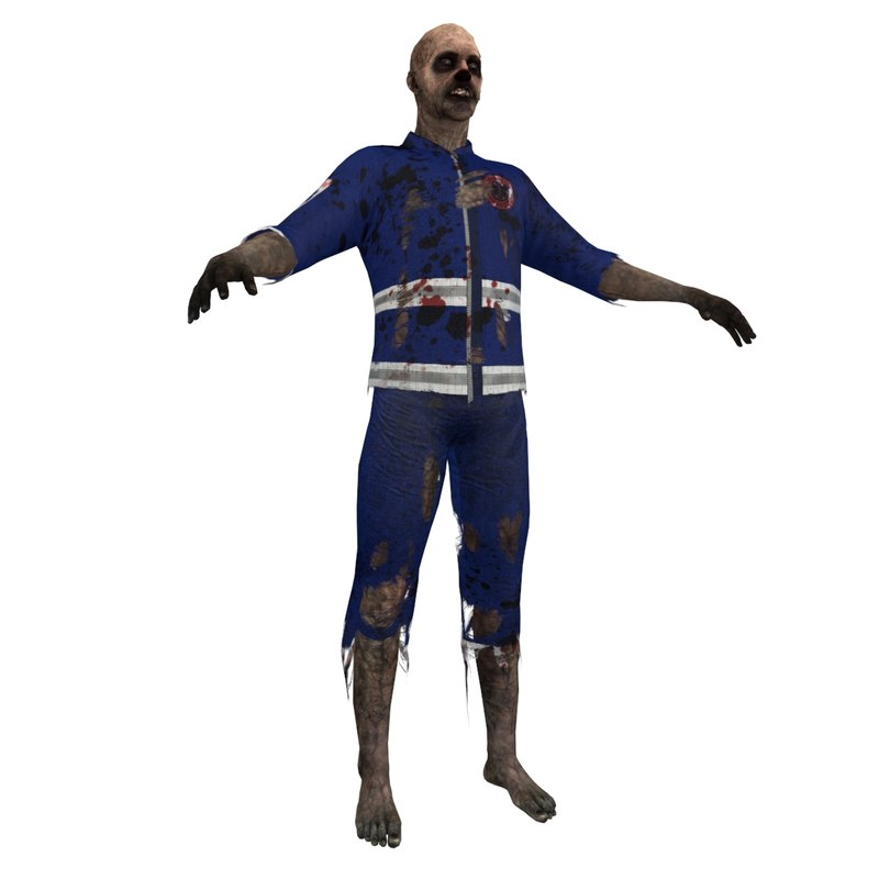 3d model zombie paramedic 3