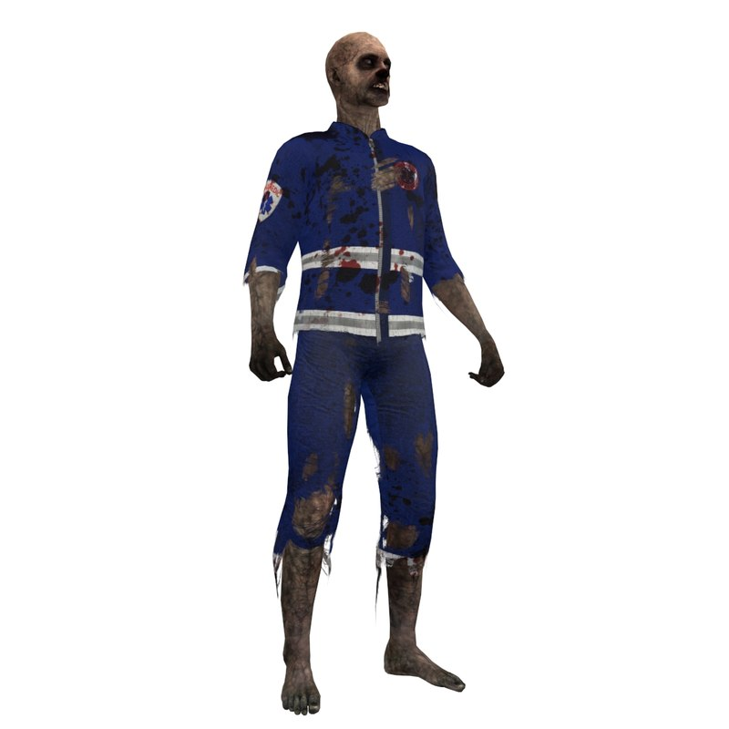 3d rigged zombie paramedic 3