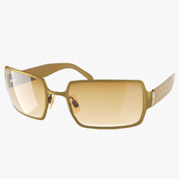 realistic golden sunglasses 3d model