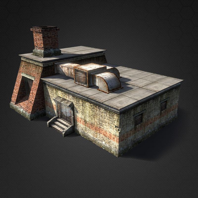 3d sci-fi foundry building