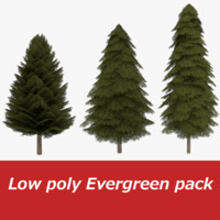 Low poly Fir tree pack one