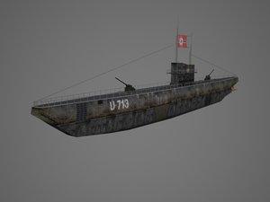 3d model submarine ww2