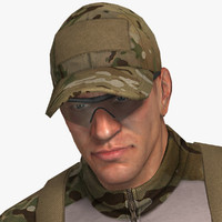 3d military male soldier set