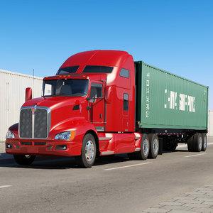 3d t660 semi trailer container model