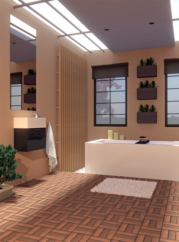 3d realistic bathroom japanese