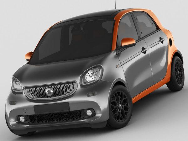3d model smart forfour 2015