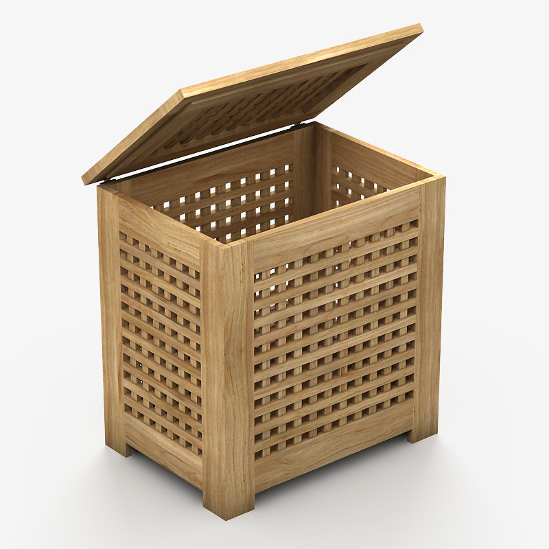 3ds wooden washing basket