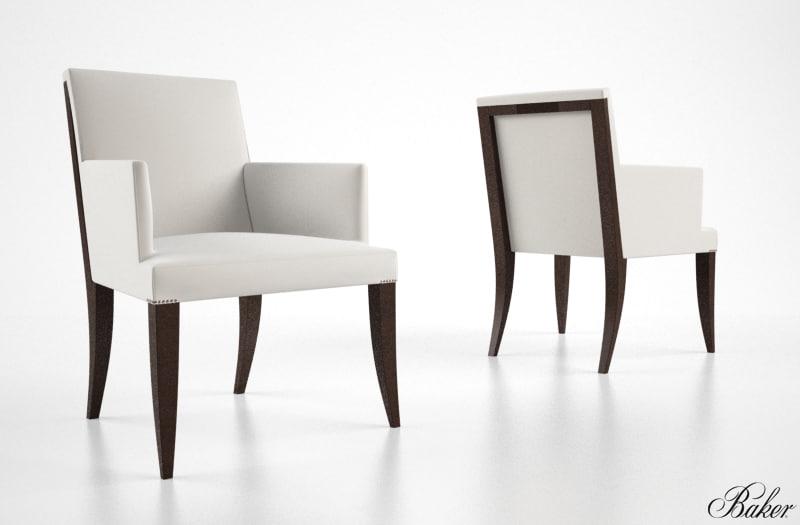3d model baker atelier dining armchair