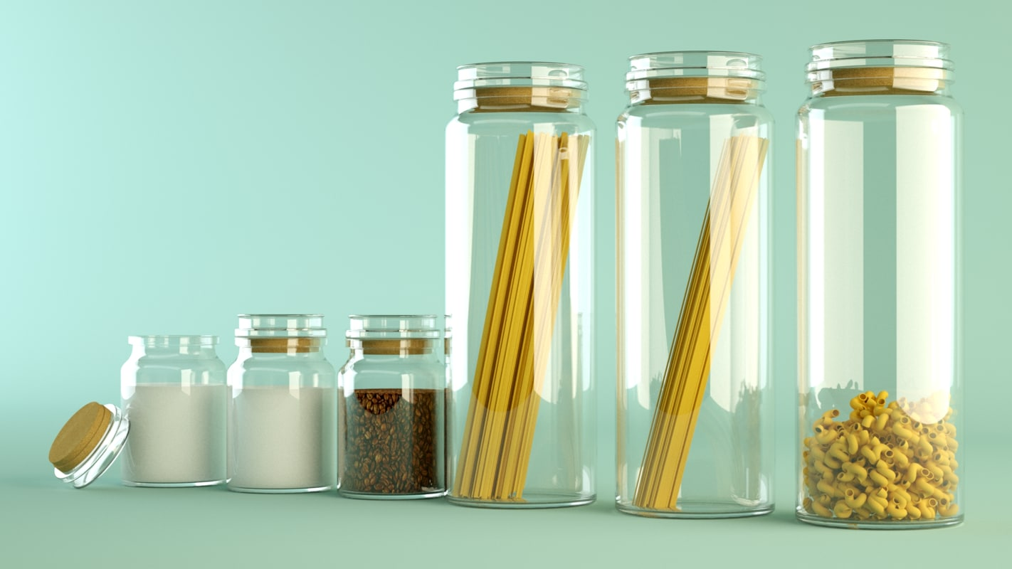 glass containers 3d model