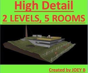 3d bunker scene model