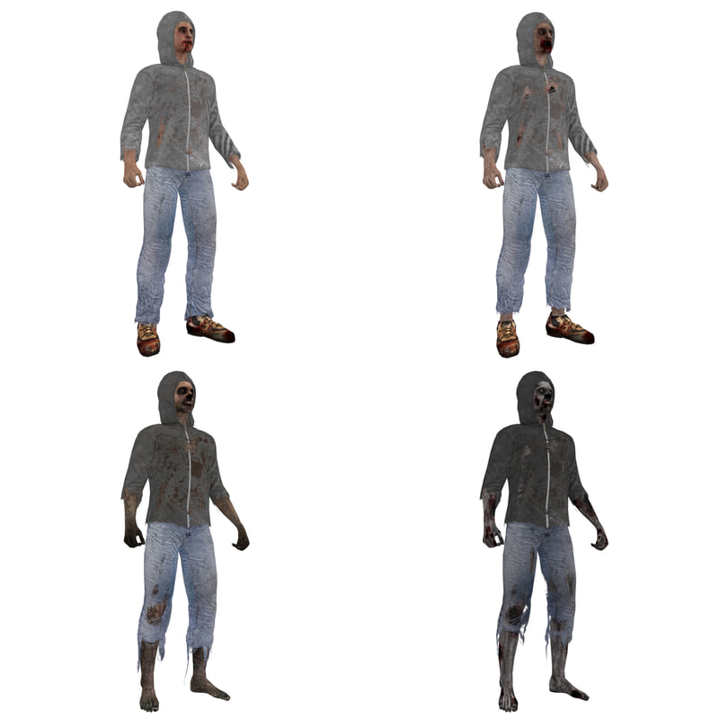 3ds max rigged zombie casuals