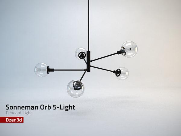 orb 5-light pendant light 3d model