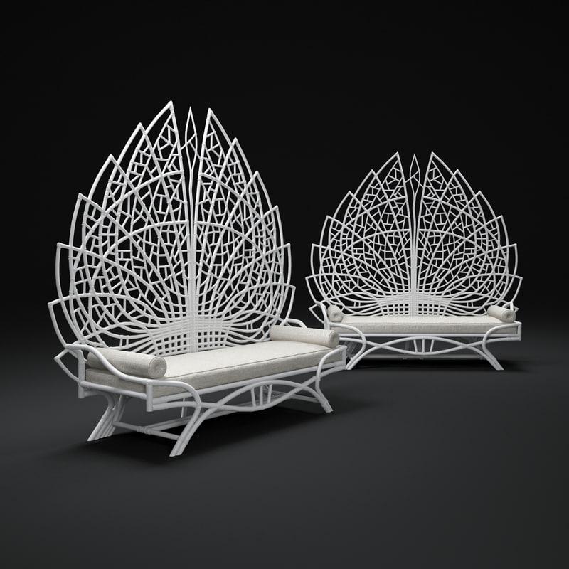 3d model of upholstered-rattan-bench