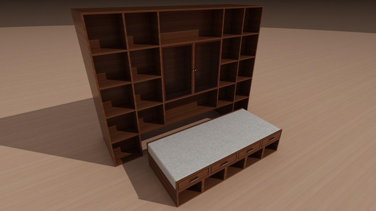3d max bookshelf secret bed