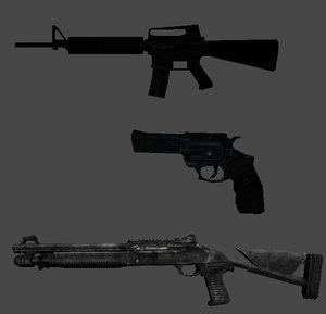 3d obj m16 rifle 44 pistol