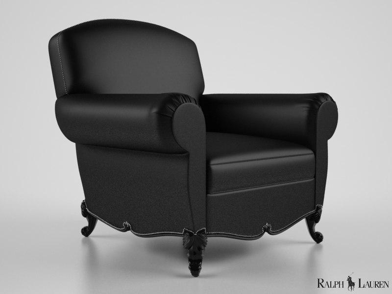 ralph lauren marseilles club chair 3d max