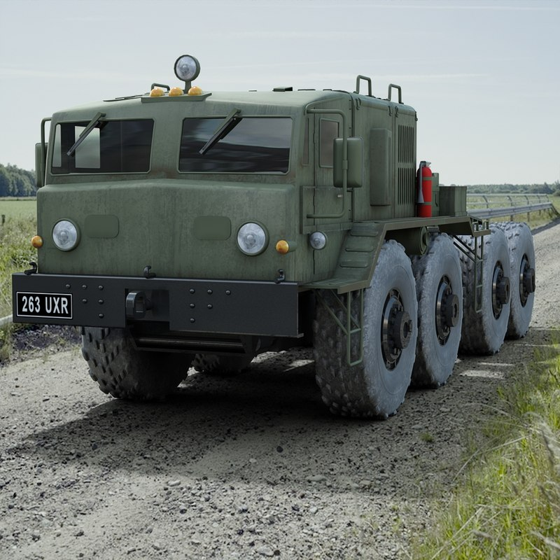 3d soviet maz 537 towing