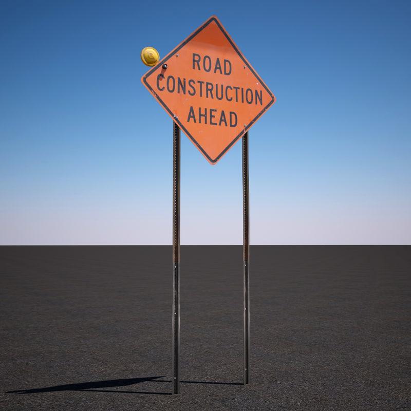 3d model road construction ahead sign