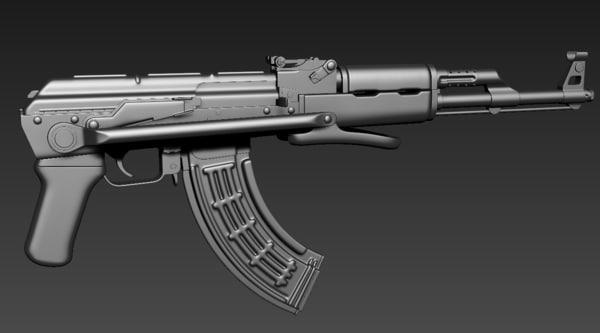 akm rifle 3d max