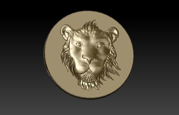 3d tsavo lion head coin model